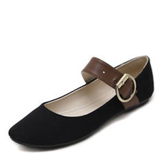 Women's Suede Flat Heel Flats Closed Toe With Buckle shoes