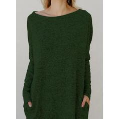 Einfarbig Taschen Rundhalsausschnitt Freizeit Pulloverkleid