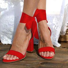 Bayanlar PU Tıknaz Topuk Sandalet Pompalar Peep Toe Ile İlmek Bağcıklı ayakkabı Katı Renk ayakkabı