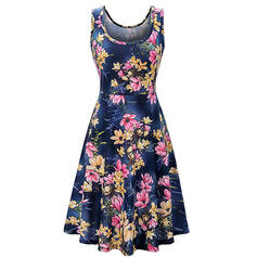 Print/Floral Sleeveless Sheath Knee Length Casual/Vacation Tank Dresses