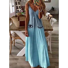 Print Sleeveless A-line Slip Casual Maxi Dresses