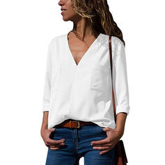 Solid V-Neck 3/4 Sleeves Casual Knit Blouses
