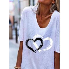 Corazón Impresión Cuello en V Mangas 1/2 Camisetas