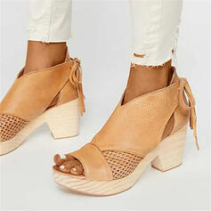 Women's PU Chunky Heel Sandals Peep Toe With Lace-up Hollow-out shoes