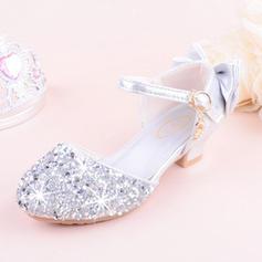 Fille de similicuir Glitter mousseux Low Heel bout rond Bout fermé Chaussures plates Chaussures de fille de fleur avec Bowknot