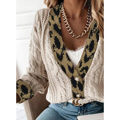 Color Block Cable-knit Leopard V-Neck Casual Cardigan