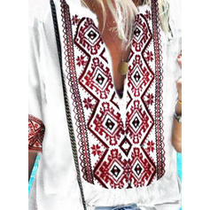 Print V-Neck 1/2 Sleeves Casual Elegant Blouses