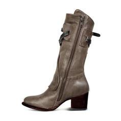 Vrouwen Microfiber leer Low Heel Laarzen Half-Kuit Laarzen met Gesp Rits schoenen