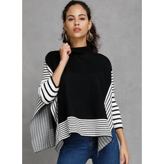 Patchwork Striped Stand Collar Sweaters