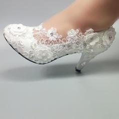 Frauen Kunstleder Stöckel Absatz Geschlossene Zehe Absatzschuhe mit Perlstickerei Stich Spitzen