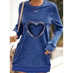 Print/Sequins/Heart Long Sleeves Shift Above Knee Casual Sweatshirt Dresses