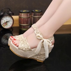 Women's Fabric Wedge Heel Sandals Wedges Peep Toe Slingbacks With Bowknot Jewelry Heel shoes