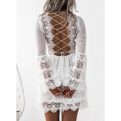 Lace/Solid/Backless Long Sleeves/Flare Sleeves A-line Above Knee Vacation Skater Dresses