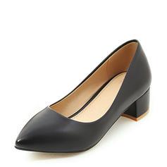 Women's PU Low Heel Pumps Closed Toe shoes