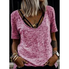 Sólido Cuello redondo Manga corta Casual Camisetas