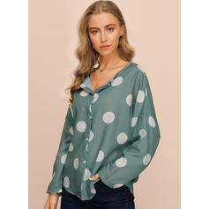 PolkaDot V-Neck Long Sleeves Button Up Casual Elegant Blouses