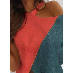 Color Block One-Shoulder Short Sleeves Casual Blouses