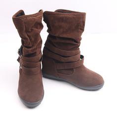 Kvinner Semsket Stor Hæl Støvler Mid Leggen Støvler med Spenne sko