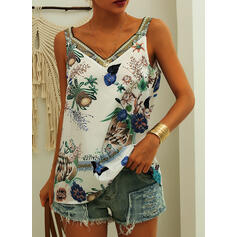 Animal Print Floral Strap Sleeveless Tank Tops
