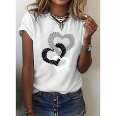 Serce Nadruk Okrągły dekolt Krótkie rękawy T-shirty