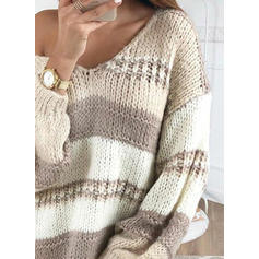 Color Block/Chunky knit/Cable-knit Long Sleeves Shift Above Knee Casual/Long/Oversized Dresses