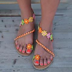 Kvinder PU Flad Hæl sandaler med Satinsløjfe sko