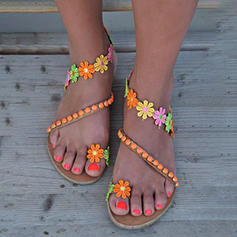 Women's PU Flat Heel Sandals With Satin Flower shoes
