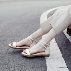 Femmes Vrai cuir Talon compensé Sandales Chaussures plates À bout ouvert Escarpins avec Boucle chaussures