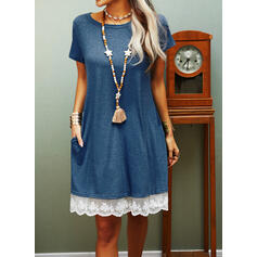Lace/Solid Short Sleeves Shift Knee Length Casual T-shirt Dresses