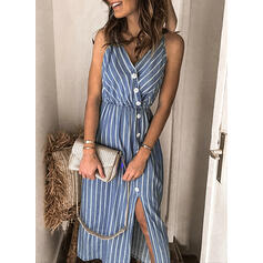 Striped Sleeveless Sheath Slip Casual/Vacation Midi Dresses