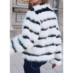 Imitert Pels Langermer Stripe Faux pels jakke