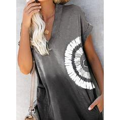 Estampado/Tie Dye Manga Curta Shift Acima do Joelho Casual T-shirt Vestidos