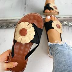Women's PU Flat Heel Sandals Flip-Flops Slippers Toe Ring With Flower shoes
