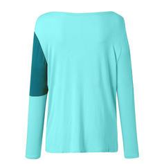 Couleur De Bloc Col V Manches 3/4 Décontractée T-shirts