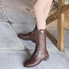 PU Alacsony sarok Csizma -Val Lace-up cipő
