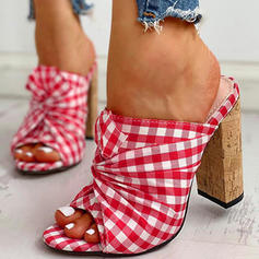 Women's Canvas Chunky Heel Sandals Pumps Peep Toe With Others shoes