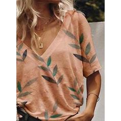 Drucken V-Ausschnitt 1/2 Ärmel Freizeit Stricken T-shirt