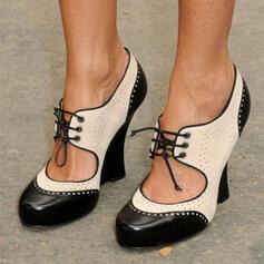 Mulheres PU Salto robusto Bombas Fechados com Fivela Oca-out sapatos