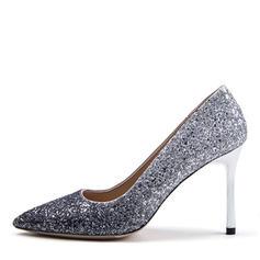 Women's Sparkling Glitter Stiletto Heel Pumps Closed Toe shoes