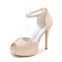 Women's Satin Stiletto Heel Peep Toe Pumps Sandals With Buckle