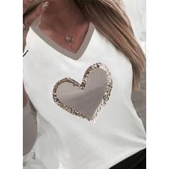 Trozos de color Corazón Impresión Lentejuelas Cuello en V Manga Larga Camisetas