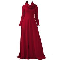 Solid Long Sleeves A-line Elegant Maxi Dresses