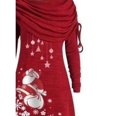 Druck Lange Ärmel Shift Knielang Weihnachten Kleider