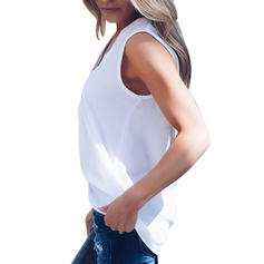 Solid V Neck Sleeveless Casual Tank Tops