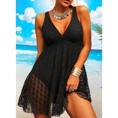 Solide Riem V-hals Sexy Grote maten Vakantie Strand jurk Badpakken