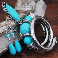 Exotisk Bohemisk Legering Turkos med Pärla Smycken Sets örhängen Armband Ringar (Sats om 3)