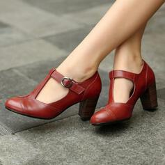 Femmes PU Talon bottier Escarpins Bout fermé avec Boucle chaussures