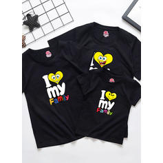 Letter Cartoon Family Matching T-Shirts