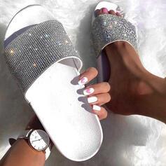 Γυναίκες PU Επίπεδη φτέρνα Παντούφλες Με Τεχνητό διαμάντι παπούτσια