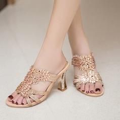 Women's Sparkling Glitter Stiletto Heel Sandals Slippers With Rhinestone Jewelry Heel shoes